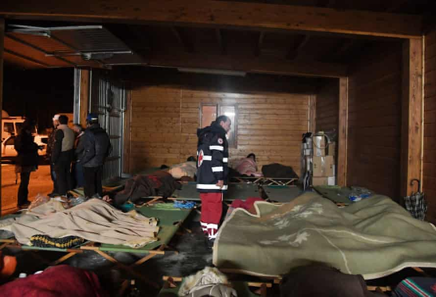 Residents of Visso sleep in makeshift accommodation after two earthquakes hit the village.