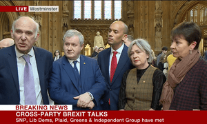 Left to right: Sir Vince Cable, the Lib Dem leader; Ian Blackford, the SNP Westminster leader; Chuka Umunna, the Independent Group spokesperson; Liz Saville Roberts, the Plaid Cymru Westminster leader; and Green MP Caroline Lucas