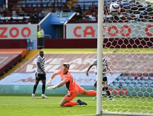 Dean Henderson watches the ball fly into the top corner.
