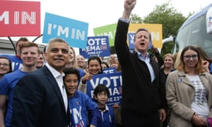 Sadiq Khan (left) campaigning with David Cameron for Remain on Monday.