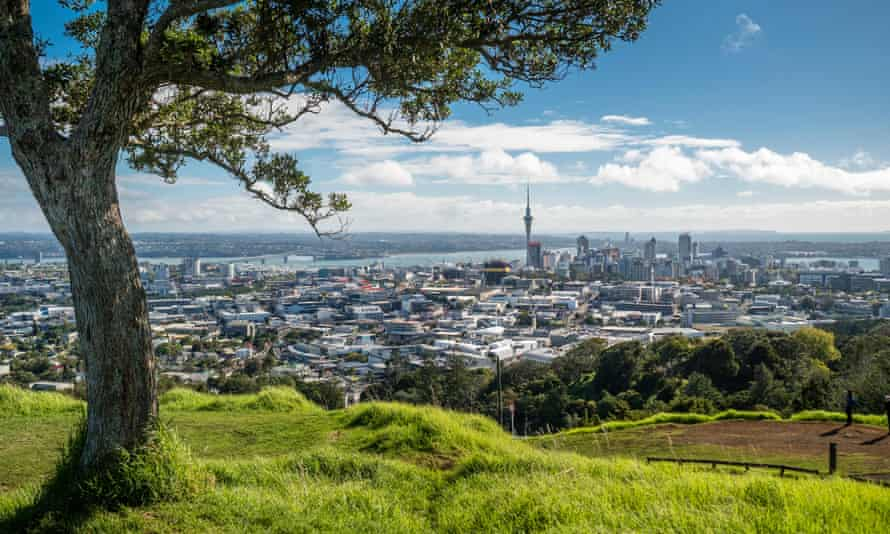 A view of Auckland New Zealand from Mount Eden.