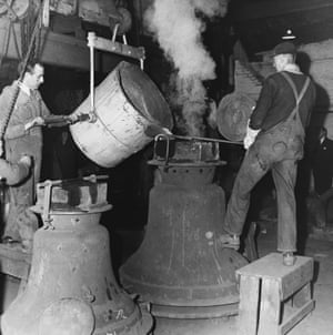 Workers at the foundry making bells for the new National Cathedral in Washington DC in 1964.