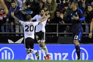 Parejo celebrates after scoring from the spot.