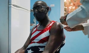 A man is vaccinated at a vaccination centre amid concerns about the spread of the coronavirus disease (COVID-19) in Havana, Cuba.