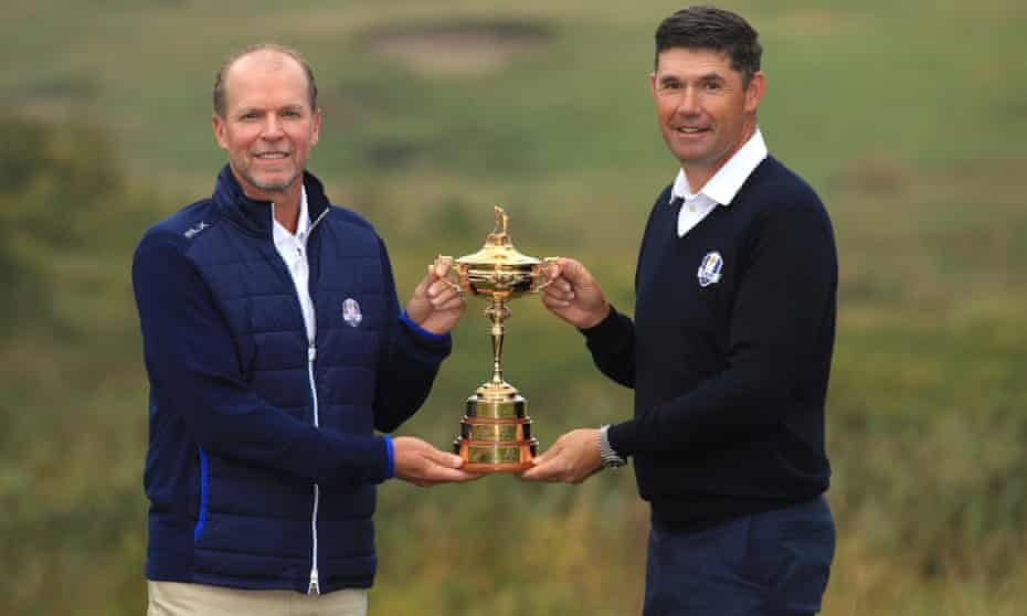 The USA captain, Steve Stricker, and his European counterpart, Padraig Harrington, at Whistling Straits last year.