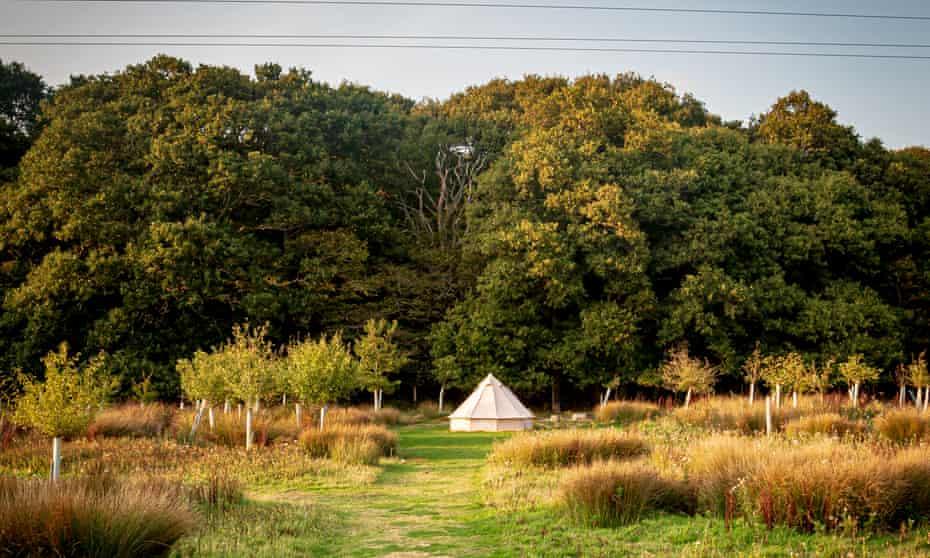 white bell tent at Secret Campsite near Lewes, UK