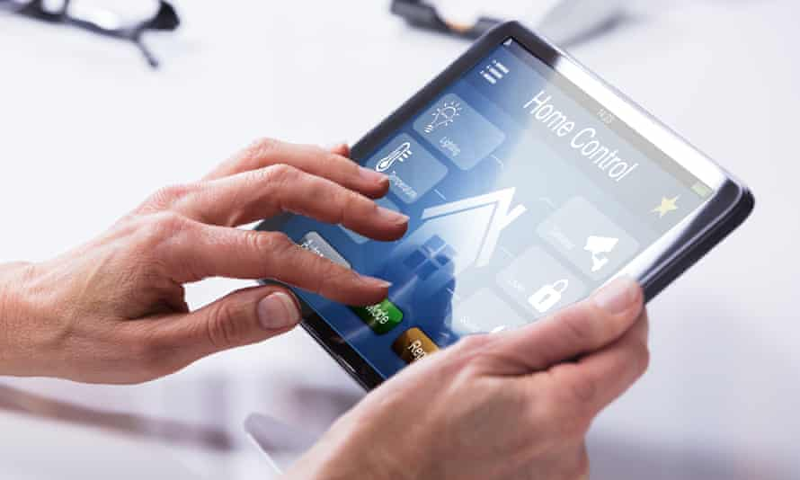 Smart technology for the home seen on a tablet screen
