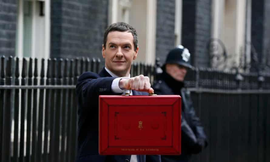 George Osborne, holds up his budget case.