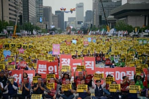 Seoul, South Korea Members of the Korean Confederation of Trade Unions protest calling for wage raise and improvements in employment rights, at Gwanghwamun Plaza