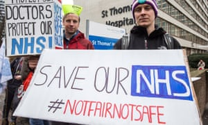 Juniors doctors at a picket line outside St Thomas Hospital in London on 9 March 2016