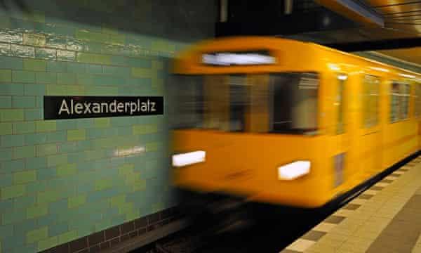 Train entering the station at Alexanderplatz.