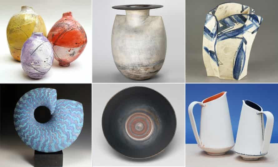 Work from Ceramic Art London 2018 … clockwise from top left, Emily Stubbs, Hans Coper, Alison Britton, Jessica Thorn, Lucie Rie and Peter Beard.
