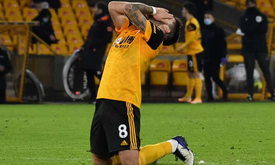 Ruben Neves reacts after a missed chance at Molineux