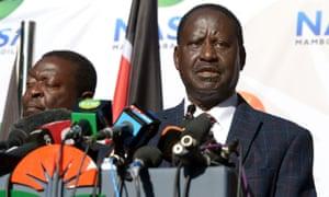 Raila Odinga gives a press conference in Nairobi