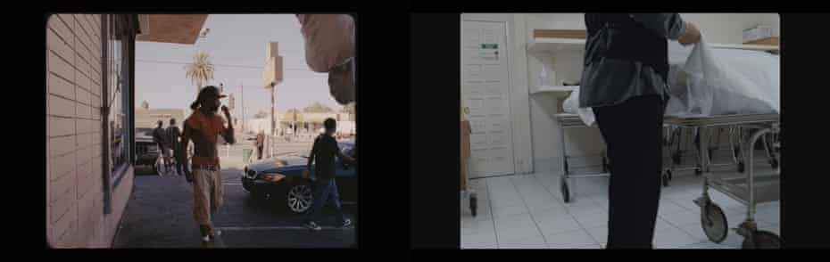 Scenes from Kahlil Joseph's 'darkly beautiful' double-screen collage m.A.A.d, 2014, which rushes around the violent streets of Compton, LA, to a soundtrack by the rapper Kendrick Lamar.
