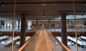 Interior view of the library at the Stavros Niarchos Cultural Center in Athens, Greece.