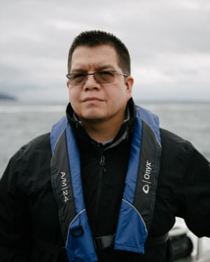 Lawrence Solomon, secretary of the Lummi Business Council, poses for a portrait aboard King County's SoundGuardian following a Lummi ceremony looking for ancestral guidance as well as honoring the qwe 'lhol mechen, commonly known as orca whales, in Puget Sound, on Wednesday, April 10, 2019 in Washington.