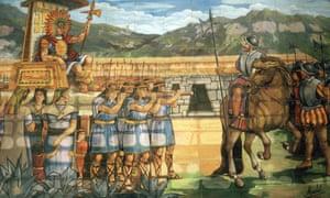 A mosaic in Cajamarca shows an encounter in 1532 between the conquistador Pizarro and the Inca Atahuallpa.