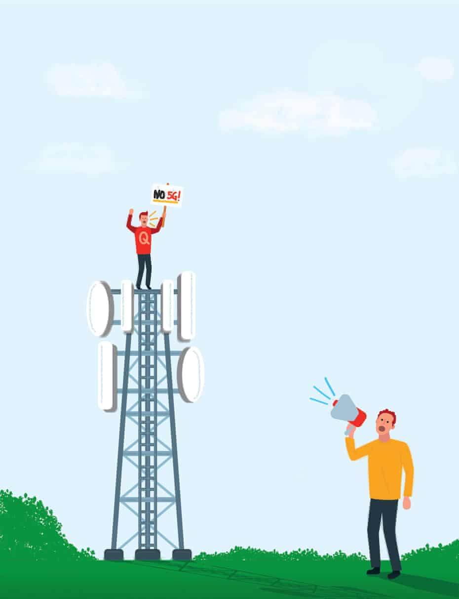 Illustration by James Melaugh of a man with a megaphone calling to a man on top of a 5G mast.