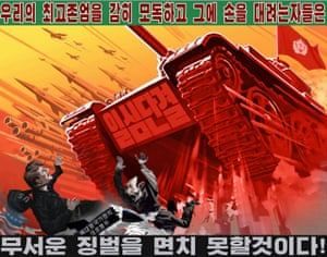 "North Korean Propaganda poster reads something like ""Those who dare insult us will face a mighty punishment!"""