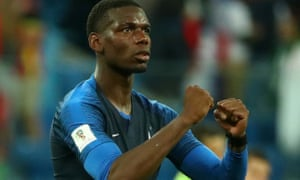 France's Paul Pogba celebrates their hard-fought victory over Belgium.