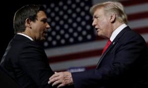 Donald Trump and Ron DeSantis at a Maga rally in Tampa, Florida on 31 July.