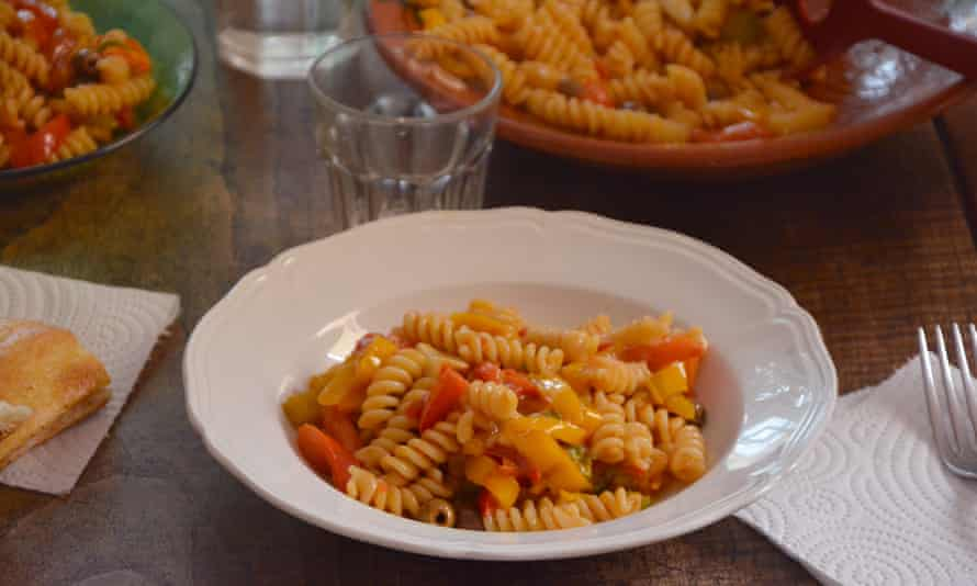 Rachel Roddy's fusilli with pepper and olive sauce.