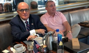 Rudy Giuliani and Lev Parnas have coffee at the Trump International hotel in Washington DC, on 20 September.
