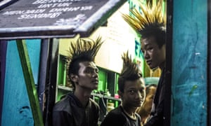 Marjinal Punk Community members protest against the arrest of 65 punk rock fans who were forced by police to have their hair cut.