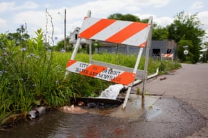 East Side, Detroit. For the past two weeks this July, a fire hose has continuously pumped water from the city's water system into the sewer, all while the water shutoffs continue.