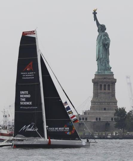 The Malizia II, with Greta Thunberg on board, arrives in Hudson Harbor, New York.
