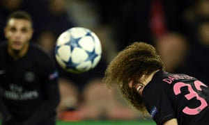 David Luiz finds it difficult to keep his eyes on the ball during Paris St-Germain's 2-0 victory over Shakhtar Donetsk.