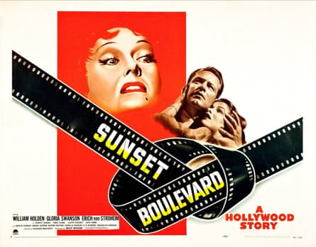 A poster for Sunset Boulevard featuring Gloria Swanson as Norma Desmond, William Holden as Joe Gillis and Betty Schaefer as Nancy Olson.