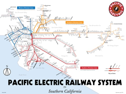 pacific electric railway map Mapped Historical Public Transit Systems V Their Modern pacific electric railway map