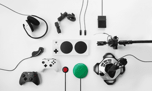 Highly personalised … the Xbox adaptive controller supports a range of accessories including joysticks, buttons and mounts.