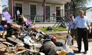 President George W Bush tours the Lower Ninth Ward of New Orleans, in March 2006.