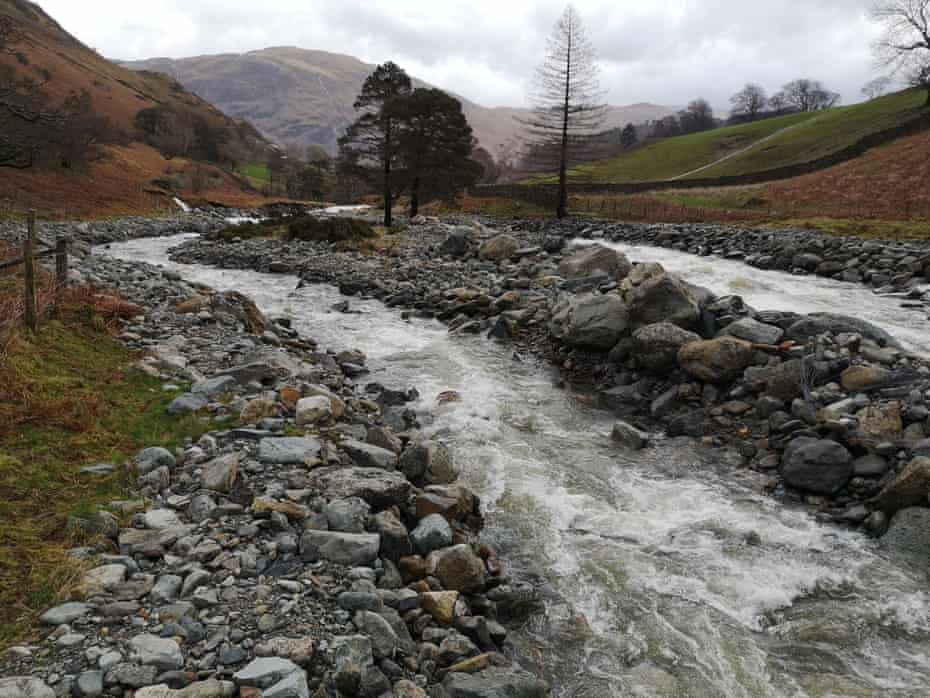 Flood relief channel in Glenridding in Cumbria, UK