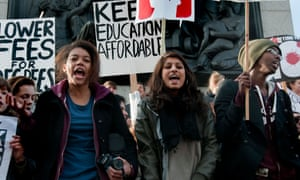 A student protest about the increase in fees in Whitehall.