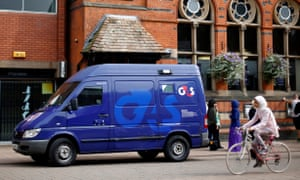 A G4S security van parked outside a bank in Loughborough