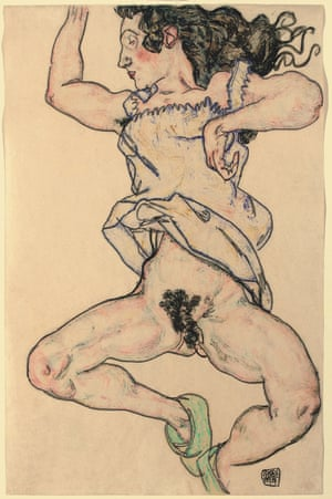 Reclining woman with green shoes, 1917, by Egon Schiele.