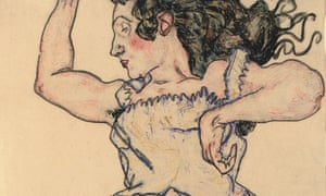 Egon Schiele's Reclining Woman With Green Shoes, 1917 (detail; full image below).