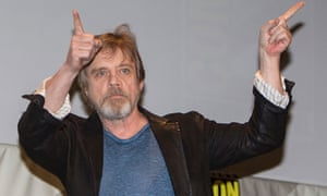 Mark Hamill points to the audience in recognition of their applause at Comic-Con International 2015 at San Diego