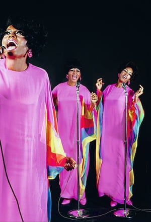 """Here, Diane, Cindy and I match every element of our look: pink gowns, pink shoes, pink earrings, and pink lipstick. I loved those pink earrings. These gowns were designed by James Galanos. The outfits appear on the front cover of Diana Ross & The Supremes Sing & Perform Funny Girl (1968)"" – Mary Wilson"