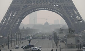 Smog by the Eiffel Tower in Paris, France. On Wednesday, pollution levels were at 90 out of 100 on an air quality index.