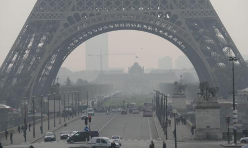 Eiffel Tower shrouded in smog as Paris pollution spikes | World news