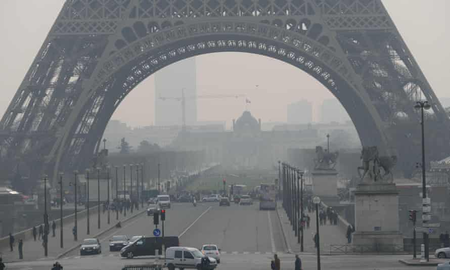 Visible pollution in Paris in March 2015.