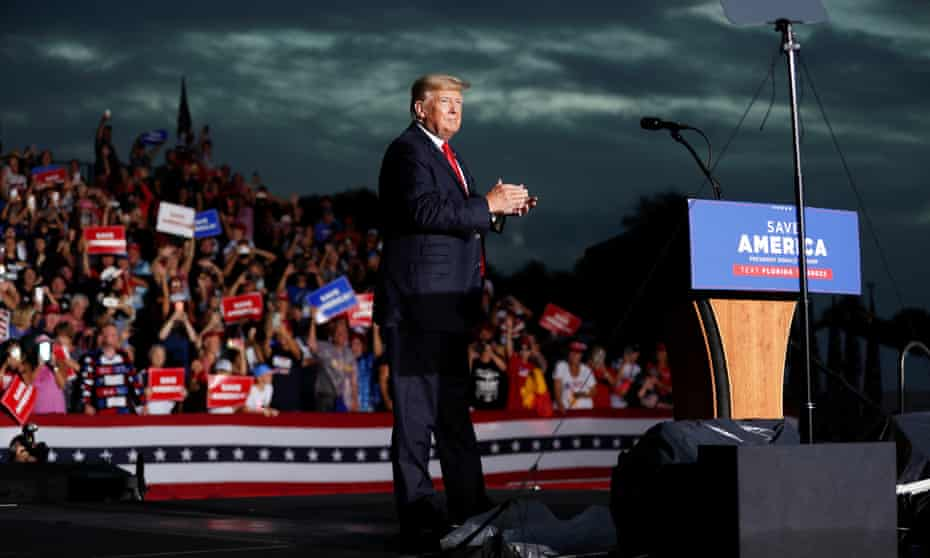 Former President Donald Trump speaks to his supporters during the Save America Rally in Sarasota, Florida.