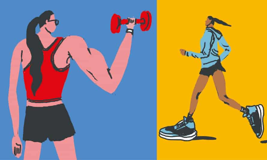 Woman weightlifting and another jogging