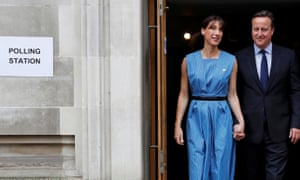 David and Samantha Cameron leave a polling station in central London after casting their votes.