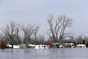Flooded RV's, washed away by the flood waters of the Platte River, are seen in Merritt's RV Park in Plattsmouth, Nebraska